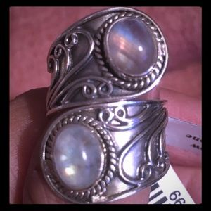 STERLING SILVER RAINBOW MOON STONE RING